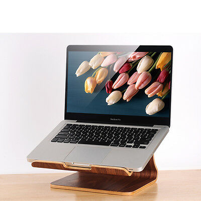 Macbook Wood Laptop Slanted Mount Heat Dissipation Stand Holder Cradle - Laptops