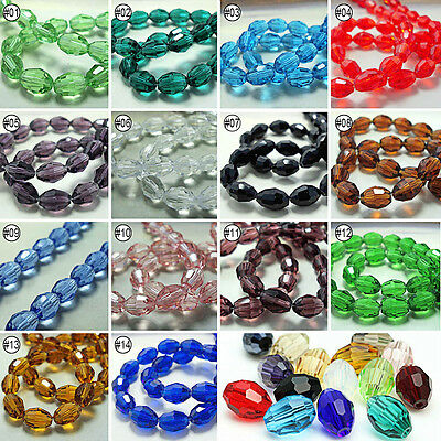 50/100pcs Mixed Colour Synthetic Crystal Gemstone Oval Shape Loose Beads