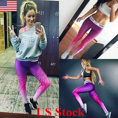 US Fashion Women Yoga Fitness Leggings Running Gym Stretch Sports Pants Trousers