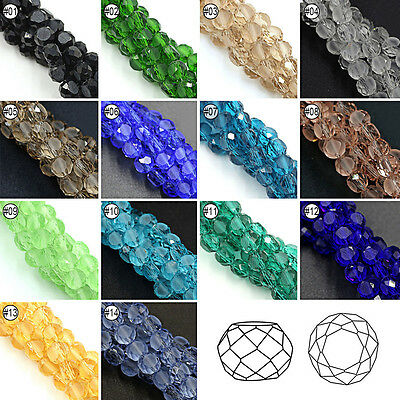 50/100pcs Mixed Colour Synthetic Crystal Gemstone Bread Shape Loose Beads 8mm