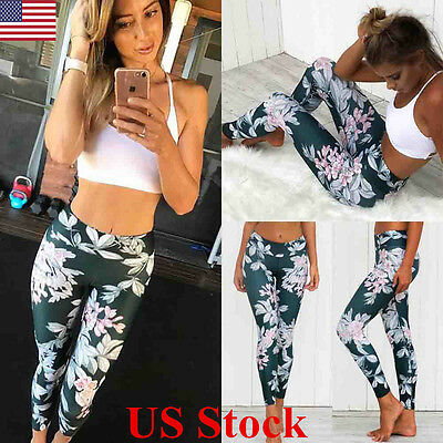 US Womens Yoga Fitness Leggings Floral Running Gym Stretch Sports Pants Trousers