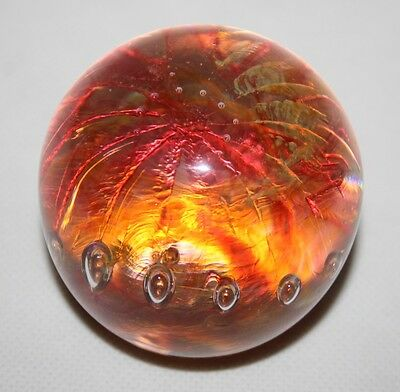 Glass Paperweight - Yellow/Pink with Controlled Bubble - vgc