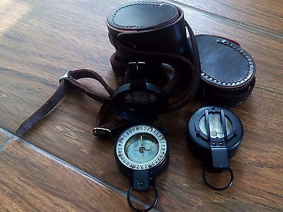 Francis Barker M-73 Compass W/leather Case (New Old Stock)