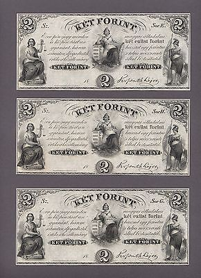 UNGARN HUNGARY 2 Forint 1852 Pick # 142r1 3 Pcs. w/ diff. serial letters