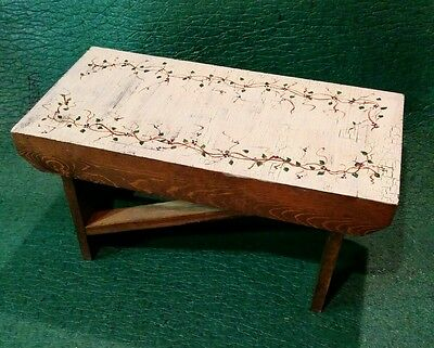 Hand Made Hand Painted Wooden Bench Step Stool Ivy Country Home Decor