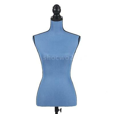 Blue Female Mannequin Torso Dress Form with Tripod Stand LINEN Pinnable F0T7