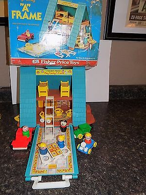 VINTAGE FISHER-PRICE LITTLE PEOPLE A-FRAME HOUSE  LOADED + EXTRAS  w box