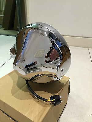"""Motorcycle Cafe Racer Headlight Assembly Casing for All 7"""" LED Headlamp Chrome"""