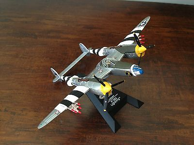 1:72 Diecast Matchbox 2000 Lockheed P-38J LIGHTNING Plane with Stand Used no Box