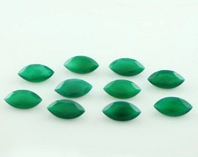 15 Pieces Lot Green Onyx 5X10 Mm Marquise Cut Faceted Calibrated Loose Gemstone