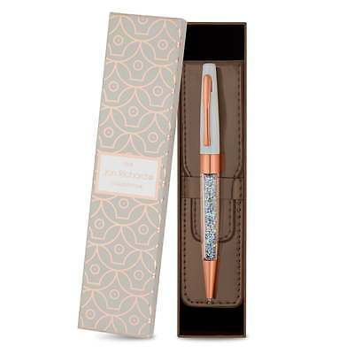 Jon Richard Rose gold crystal pen and pouch set