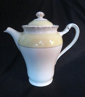 Vintage J G Meakin Sol Coffee Pot - Yellow Band - England
