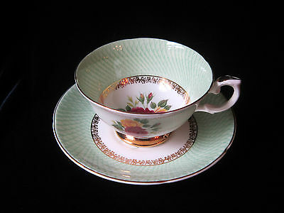 Royal Grafton Bone China Teacup & Saucer - Roses in Centre & Mint Green Border