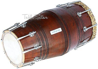 638888969548 -Solid Wood HM-0124 Hand Made Sheesham Wood Dholak Dark Brown Color