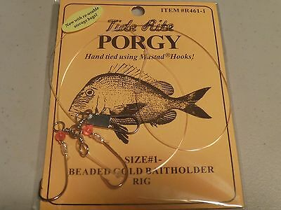 24 Porgy Rigs Scup Tide Rite R461-1 Beaded Hi-Lo Rig Saltwater  Fishing Mustad