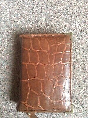 Genuine Brown and tan Croc leather print bible cover for standard NWT (DLbi12-E)