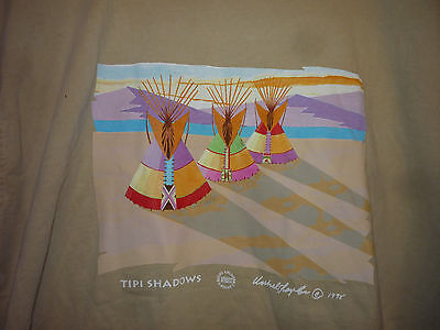 NWT Vintage 90s Native American Indian Tipi Shadows T Shirt Tan XL