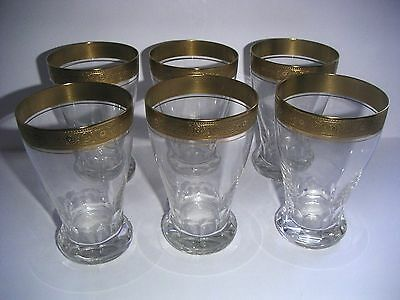6 Theresienthal Concord Bierbecher Kristall Goldene Mintonborte