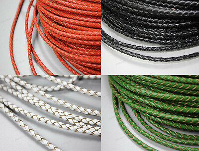 12 Colors-3mm Round Real Leather Bracelet Bolo Cord, 3mm Braided Leather