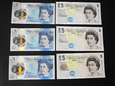 "New ""3 Consecutive-New 2016 Polymer £5 pound GEM UNC+3x £5 Paper UNC Banknotes"