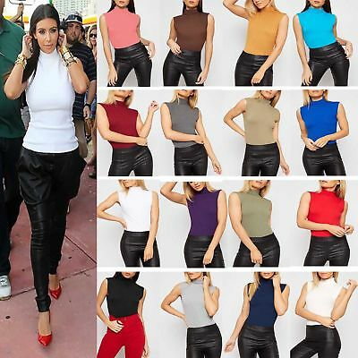 New Womens Sleeveless Turtle Neck Top Ladies Roll Neck  Polo Neck Jumper Uk 8-26