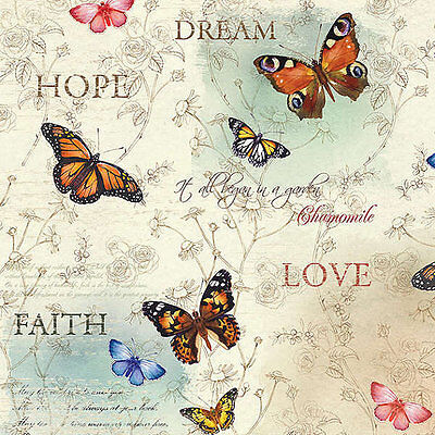 Quilting Patchwork Sewing Fabric DREAM GARDEN Butterfly Allover Cotton 50x55cm