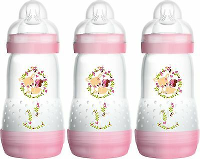 MAM Self Sterilising Anti-Colic Bottle 260 ml 3 Pack Pink (Designs May Vary) New