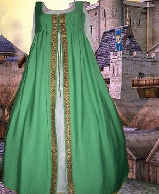Costume Irish Style Medieval Gown Renaissance SCA Garb Kelly FrtLcg Ovrdress LXL