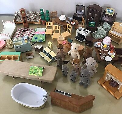 Sylvanian Families Accessories Chairs Tables Figures Fire Place Bath Food Oven
