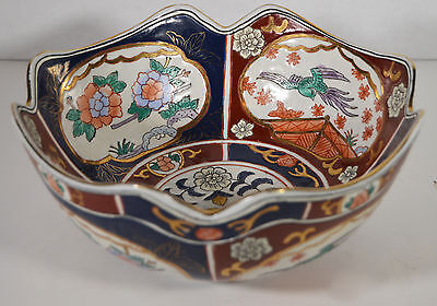 "8"" Vintage Hand Painted Asian Japanese Imari Porcelain Bowl Relief Ornate"