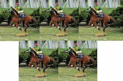 Horse Racing Sport Running Diorama Figure Scale Model OO Scale Set 5pcs K598x5