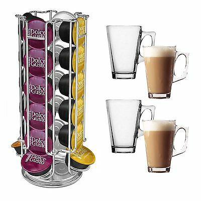 Revolving 24 Dolce Gusto Coffee Pod Holder + 4 x 240ml Latte Coffee Mugs Cups