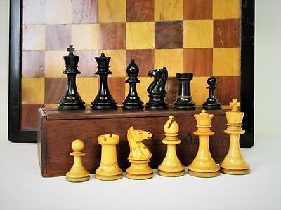 "Antique Chess Set  Library Staunton Pattern  German ?  K 3"" +  Box &  Board"
