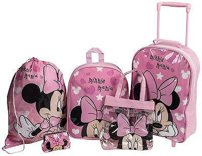 Disney Minnie Mouse Hearts Girls Pink 5 Pc Luggage Set Backpack Purse Swim Bag