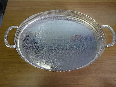 Antique Vintage Silver plated tray, Butler Serving tray