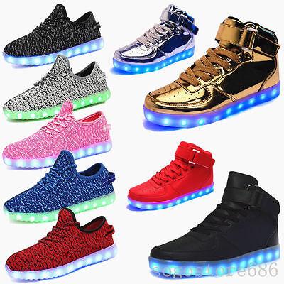 Men Women LED Light Up shoes Night Light USB Shoes Trainer Lace-up Sneakers V-1