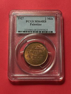 Palestine - Uncirculated  2 Mils 1927  Pcgs Ms-64 Rb.