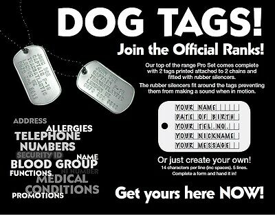 "Military Personalised Army Dog Tags 26"" Chain & Silencers Embossed Fancy Dress"