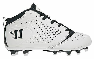 Youth Lacrosse Cleats - Warrior Burn 5.0 Mid Cleats - Black & White