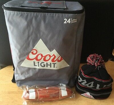 COORS LIGHT CHILLER PACK BACKPACK 24 CANS BEER with Winter Toque & Football