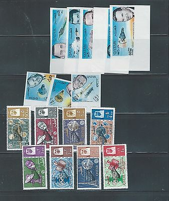 Middle East Qatar mnh stamp sets SPACE KENNEDY w imperf & REVALUED 2 scans
