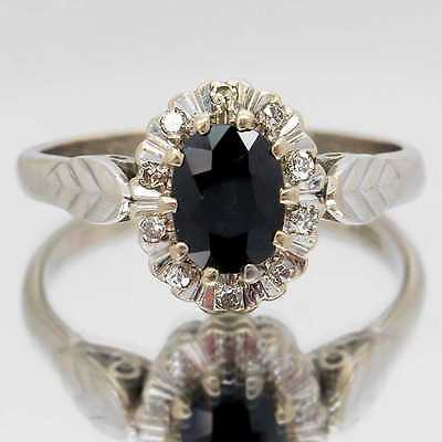 Vintage Sapphire Ring, 1.00 Carat Sapphire With 11 Diamonds In 18ct White Gold