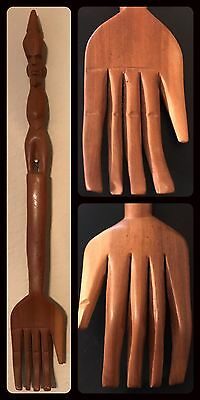 Vintage Hand Carved Wood Folk Art African Tribal Figure HAND Back Scratcher