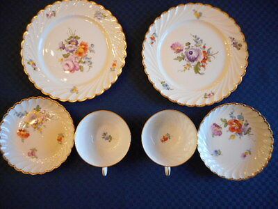 Nymphenburg Antique China  Matching 2 Desert Plates 2 Saucers 2 Cups [Date 1895]