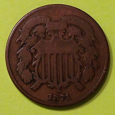 1871 U.S.,Two /2 Cents Piece,  Copper Coin, *Better Date*, Original