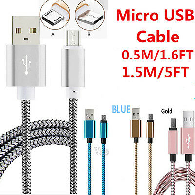 0.5M/1.5M 2.1A Metal Heavy Duty Braided Micro USB Data Sync Fast Charging Cable
