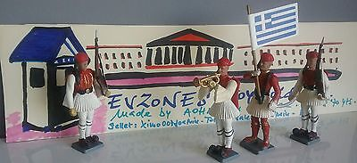 Vintage Evzones toy soldiers by Aohna, made in Greece 60' years