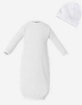 5 New Sets Newborn Layette Gown Beenie Cotton Blank Rabbit Skins Mpn4406 White