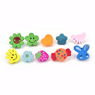 10xMulti-Coloured Cartoon Assorted Push Pins Drawing Cork Board Office Supplies