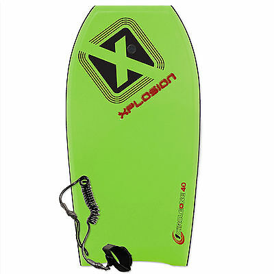 "New 45"" Xplosion Bodyboard, Boogie Body Board for Adults, Kids, Coiled Leash"